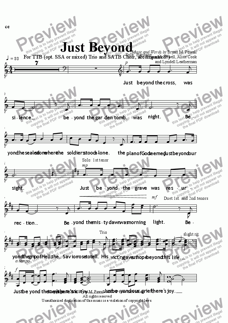 page one of the Voice part from Just Beyond