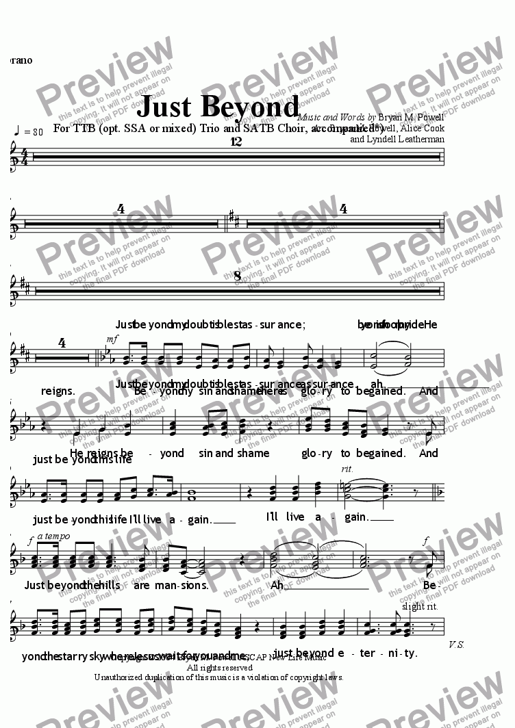 page one of the Soprano part from Just Beyond