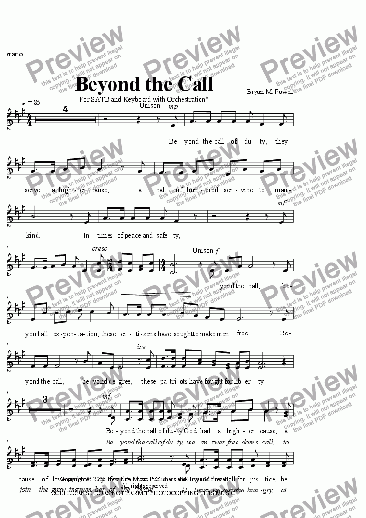 page one of the Soprano part from Beyond the Call