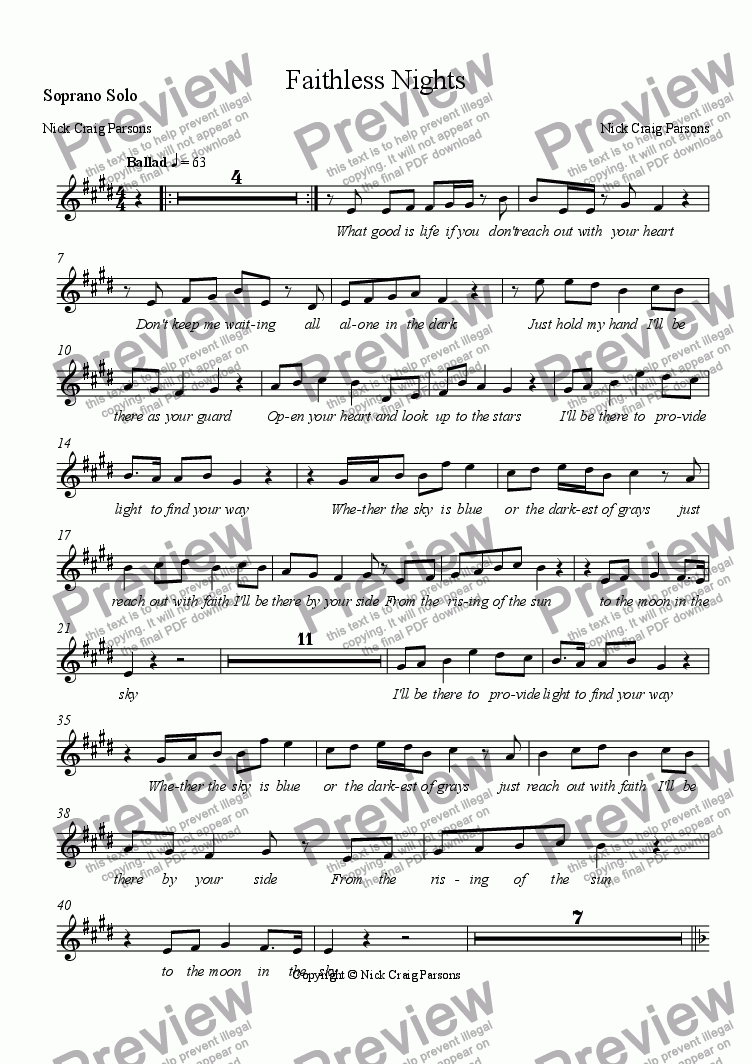 page one of the Soprano Solo part from Faithless Nights