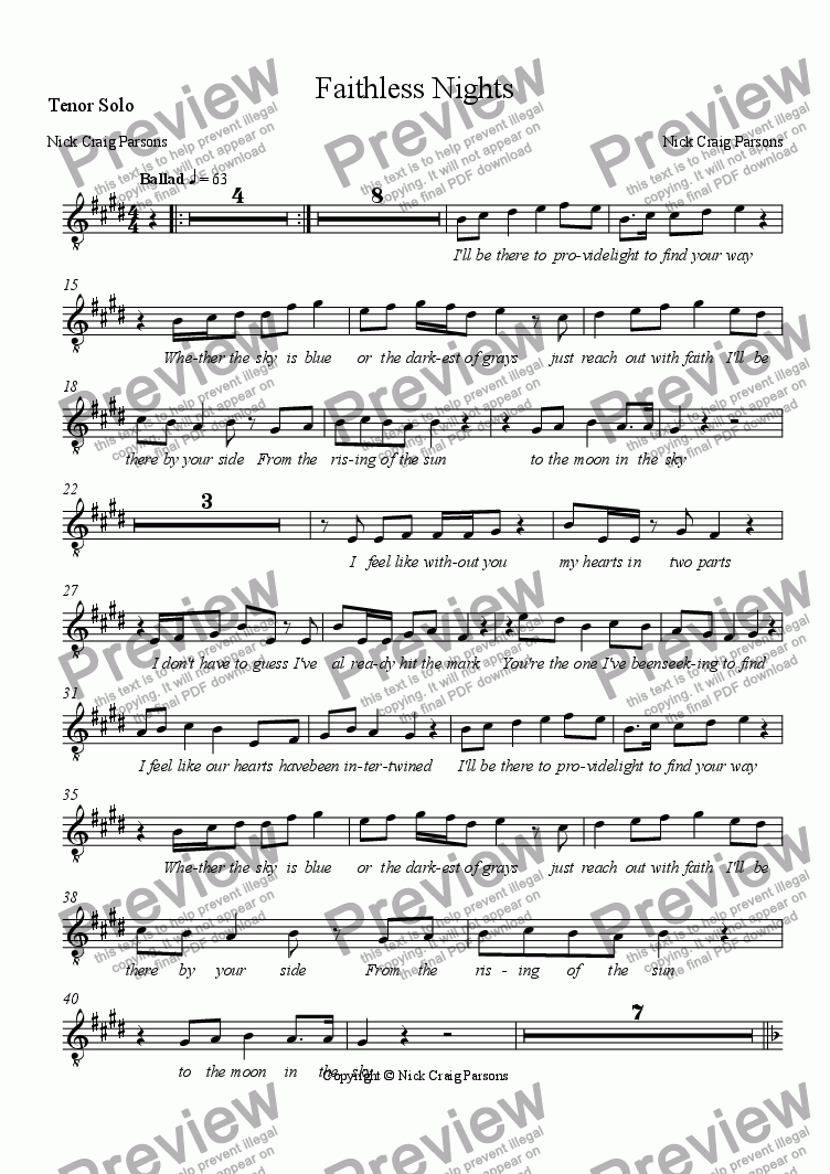 page one of the Tenor Solo part from Faithless Nights