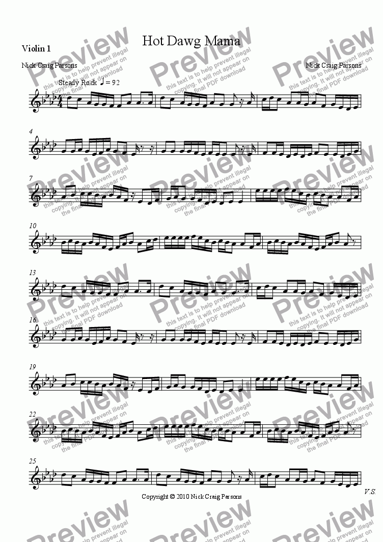 page one of the Violin 1 part from Hot Dawg Mama