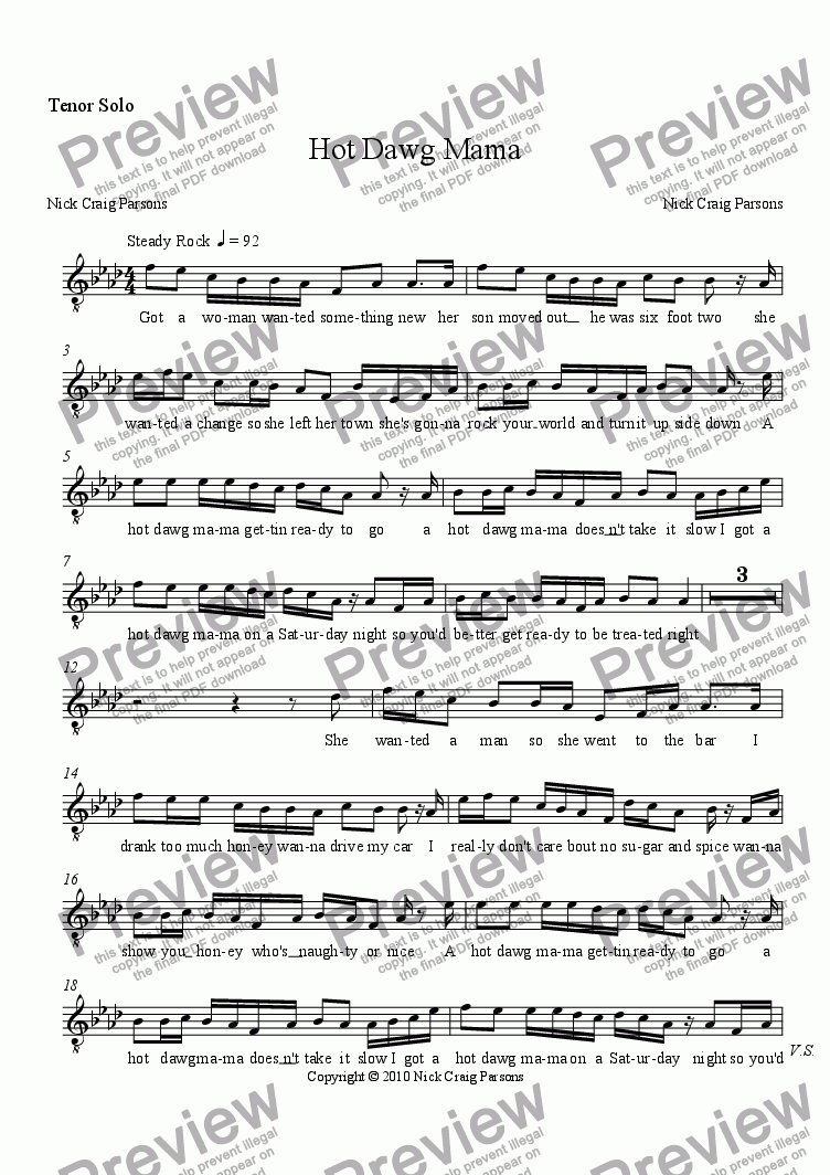 page one of the Tenor Solo part from Hot Dawg Mama