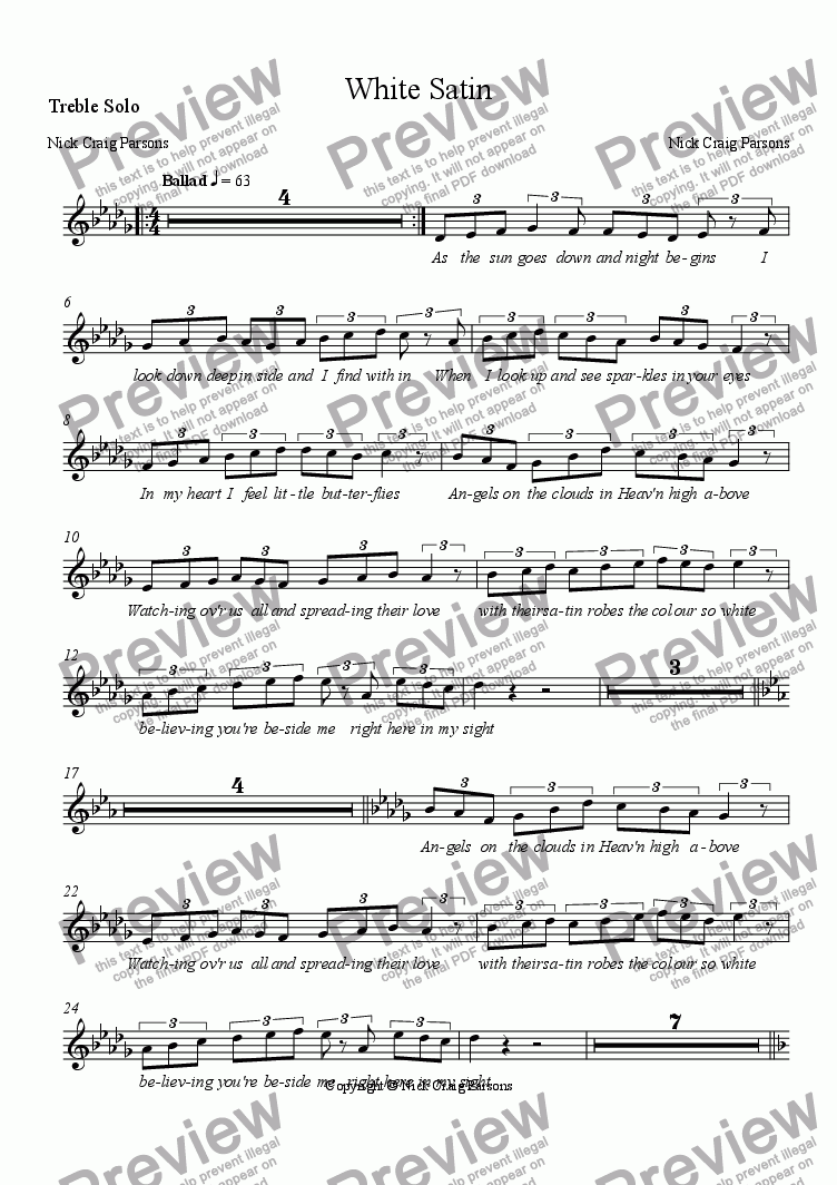 page one of the Treble Solo part from White Satin
