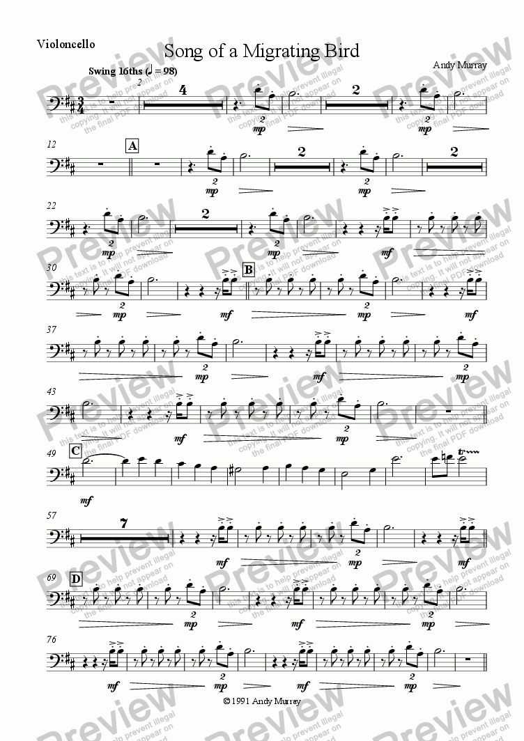 page one of the Violoncello part from Song of a Migrating Bird (SA + ensemble)