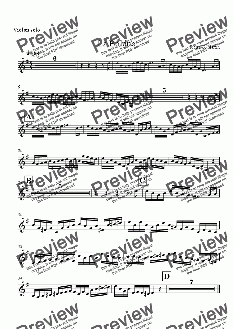 page one of the Violon solo part from La Bolduc (chamber music)