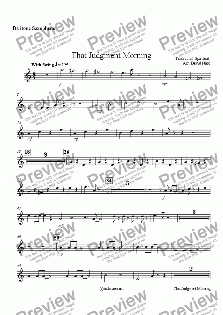 page one of the Baritone Saxophone part from That Judgment Morning