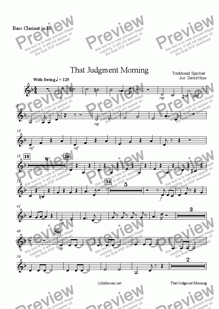 page one of the Bass Clarinet in B^b part from That Judgment Morning
