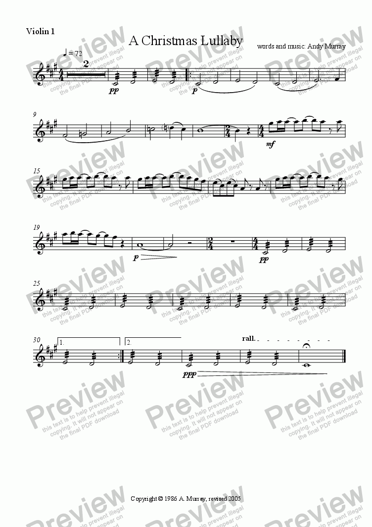 page one of the Violin 1 part from A Christmas Lullaby (SSA + ensemble)