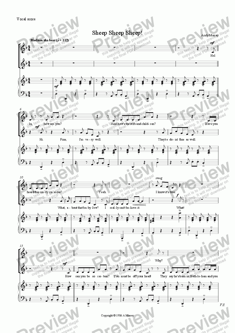 page one of the Vocal score part from Sheep Sheep Sheep! (SA + ensemble)