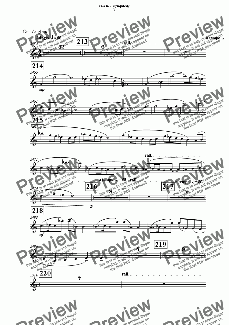 page one of the Cor Anglais part from Symphony No 65 Part III.  Symphony 3rd movement