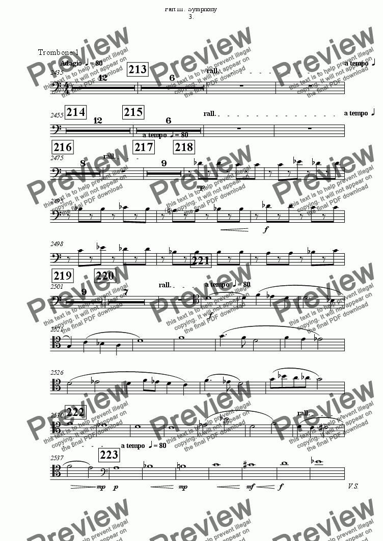 page one of the Trombone 1 part from Symphony No 65 Part III.  Symphony 3rd movement