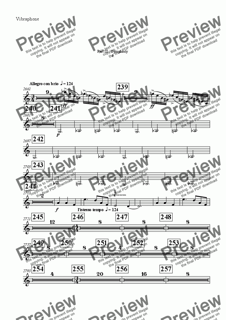 page one of the Vibraphone part from Symphony No 65 Part III.  Symphony 4th movement