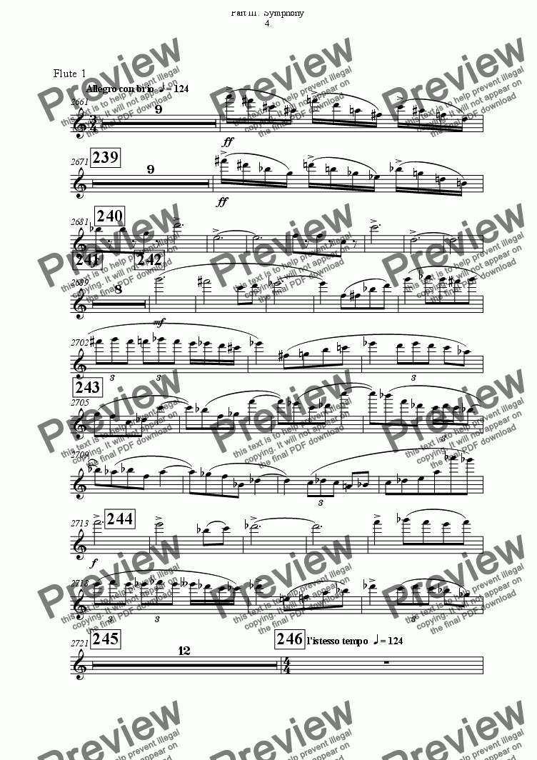 page one of the Flute 1 part from Symphony No 65 Part III.  Symphony 4th movement