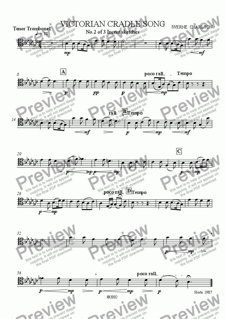 page one of the Trombone 1 part from Victorian Cradle Song
