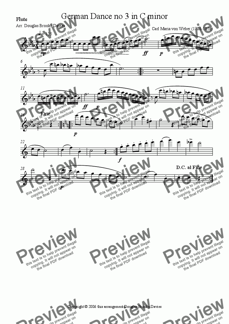 page one of the Flute part from Weber: German Dance no 3 in C minor for four flutes