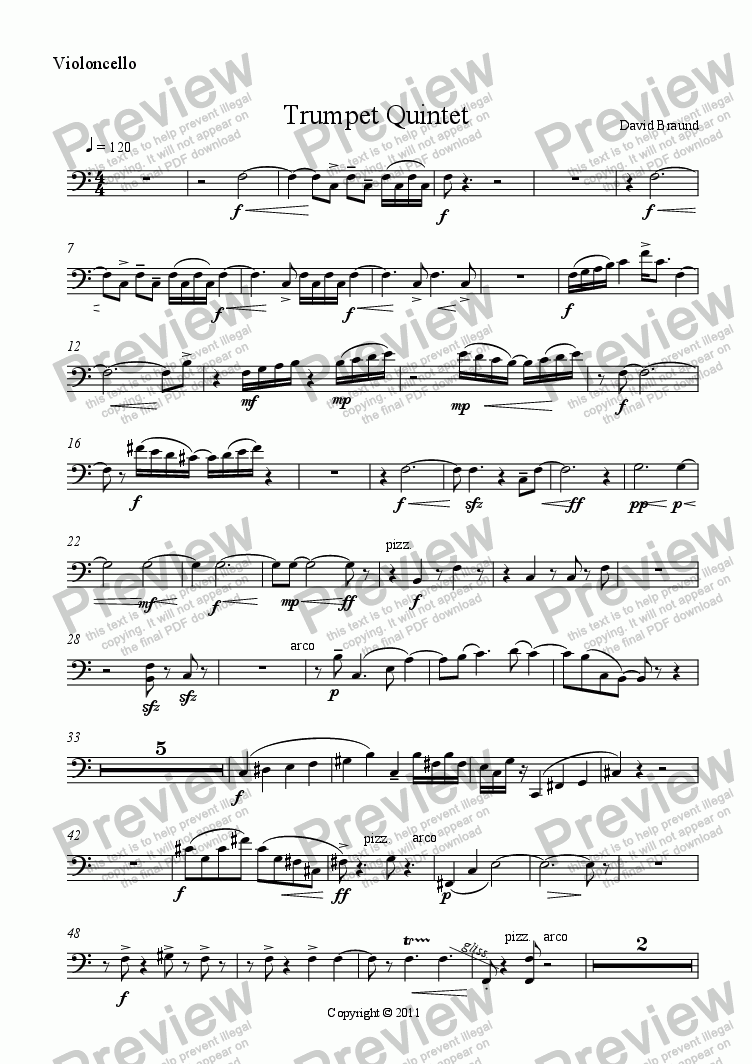 page one of the Violoncello part from Quintet for Trumpet & String Quartet