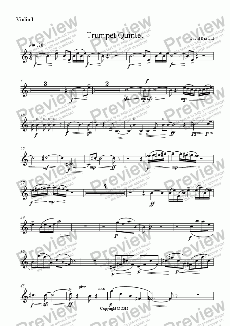 page one of the Violin I part from Quintet for Trumpet & String Quartet