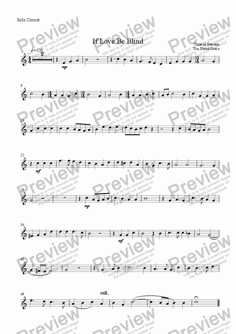 page one of the Solo Cornet part from If Love Be Blind [Bateson]