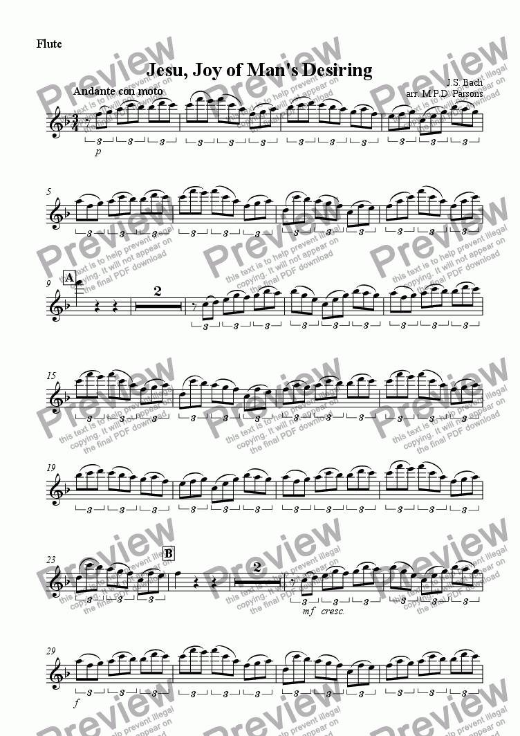 page one of the Flute part from Jesu Joy of Mans Desiring