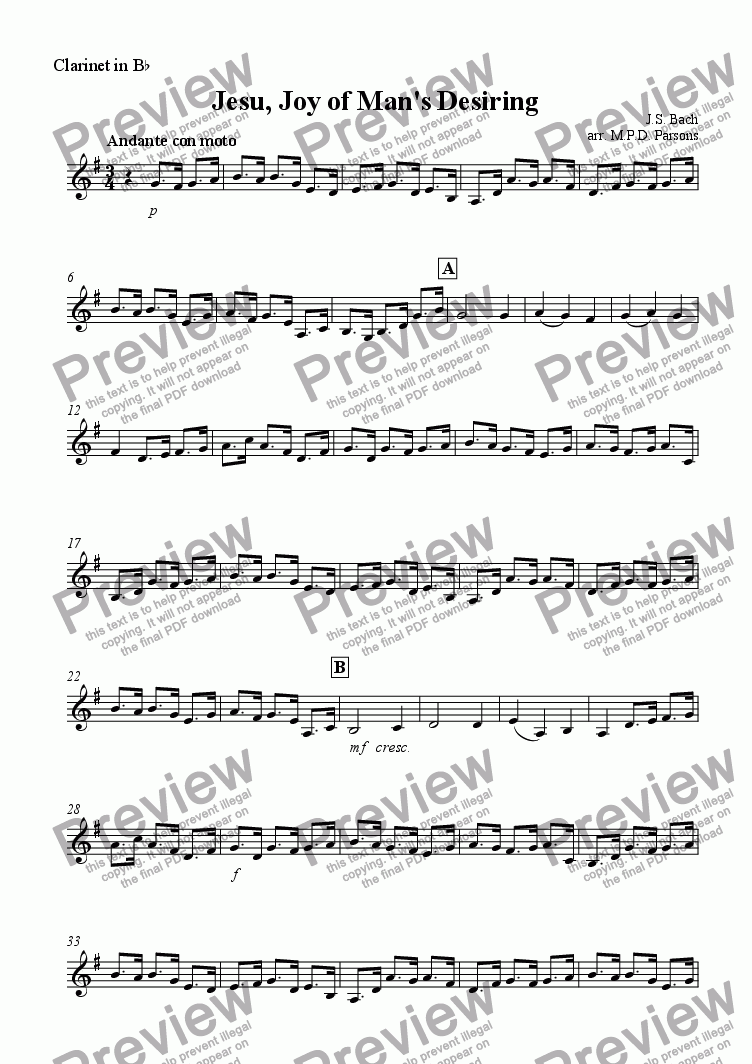 page one of the Clarinet in Bb part from Jesu Joy of Mans Desiring