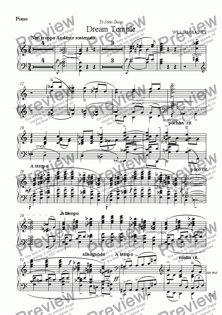 page one of the Piano part from William Baines: Dream Temple