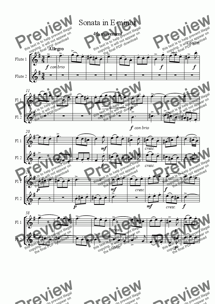 page one of the Flute 1 and 2 :4th movement part from Loeillet Trio Sonata in E minor Finale