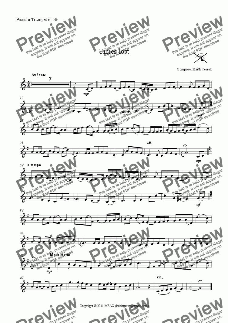 page one of the Piccolo Trumpet in B^b part from Times lost for Bb Piccolo Trumpet & Piano