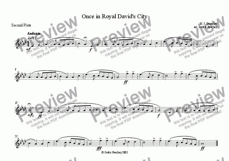 page one of the Second Flute part from Ye Olde Carol-Singers' Compendium - Once in Royal David's City
