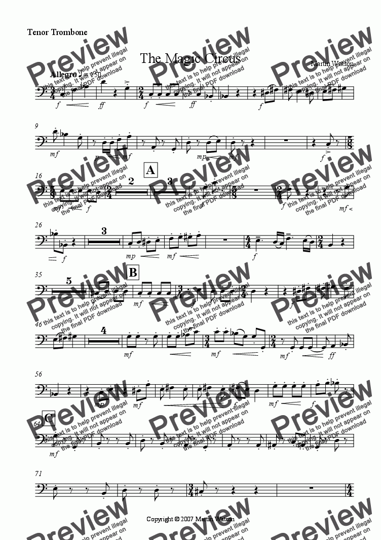 page one of the Tenor Trombone part from The Magic Circus for Concert Band