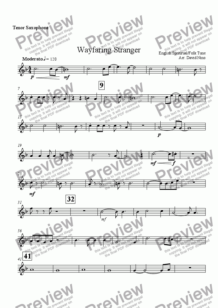 page one of the Tenor Saxophone part from Wayfaring Stranger