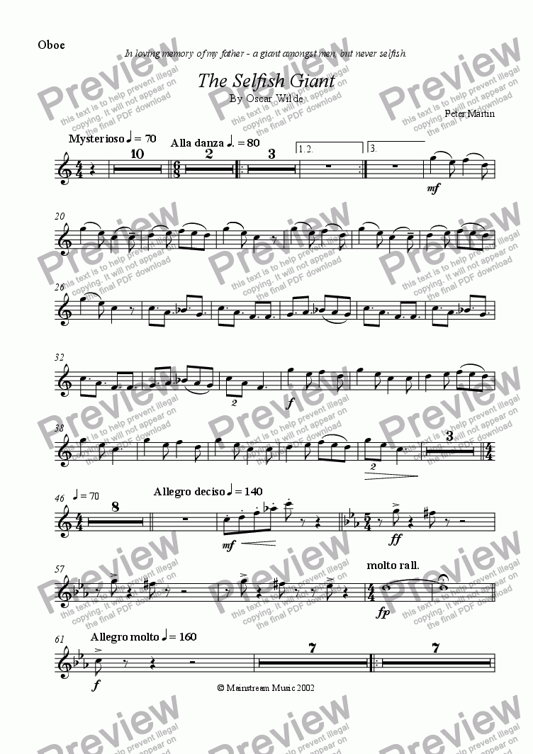 page one of the Oboe part from The Selfish Giant