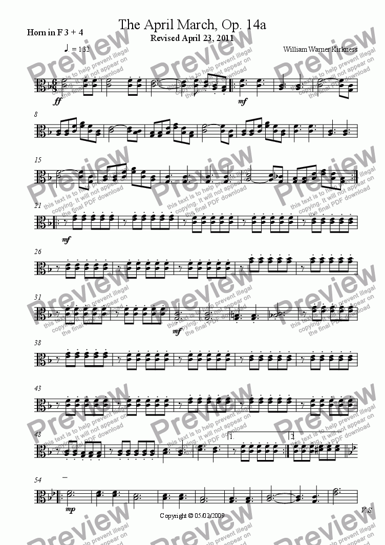 page one of the Horn in F 3 + 4 part from The April March, Op. 14a