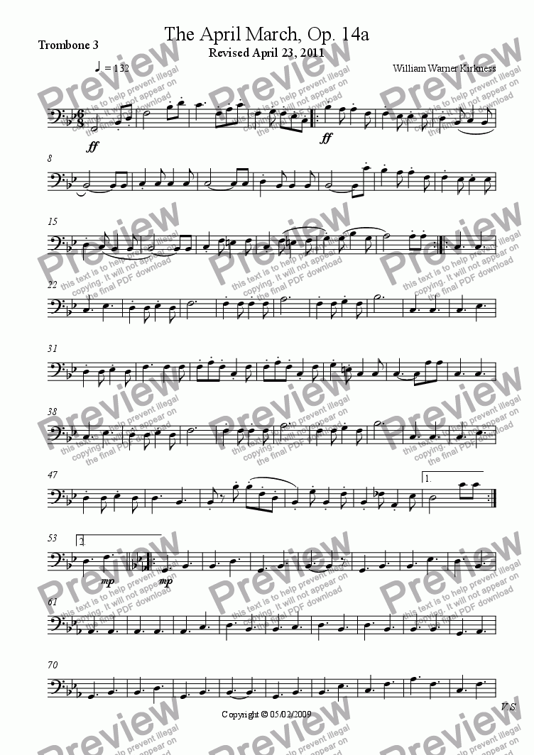 page one of the Trombone 3 part from The April March, Op. 14a