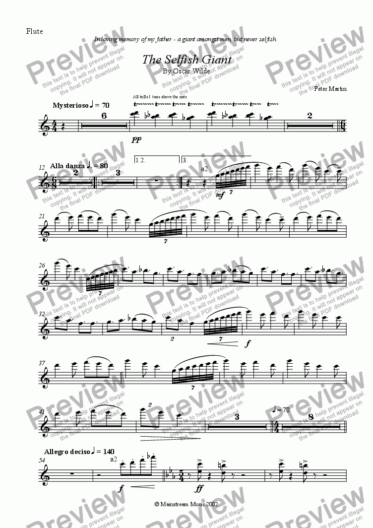 page one of the Flute part from The Selfish Giant