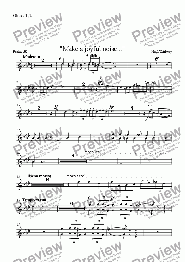 "page one of the Oboes 1, 2 part from ""Make a joyful noise..."""
