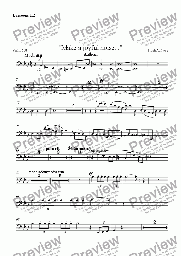 "page one of the Bassoons 1.2 part from ""Make a joyful noise..."""