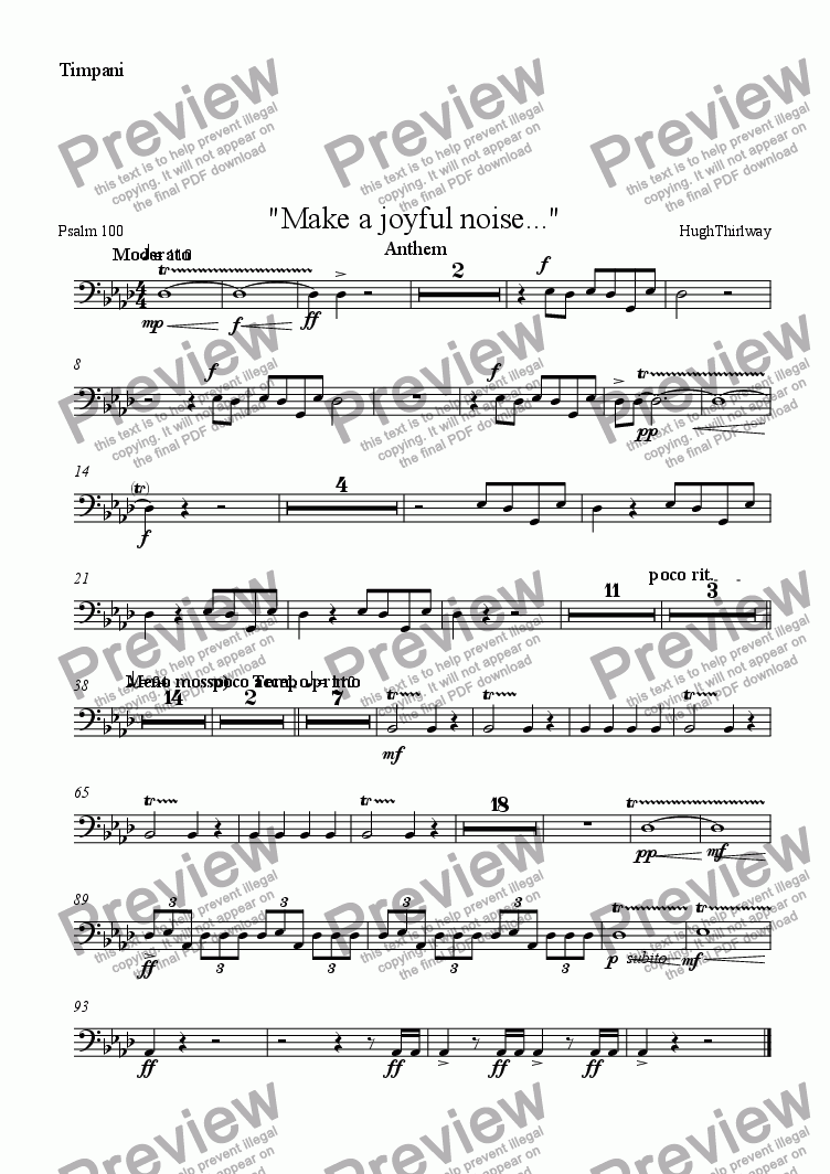 "page one of the Timpani part from ""Make a joyful noise..."""