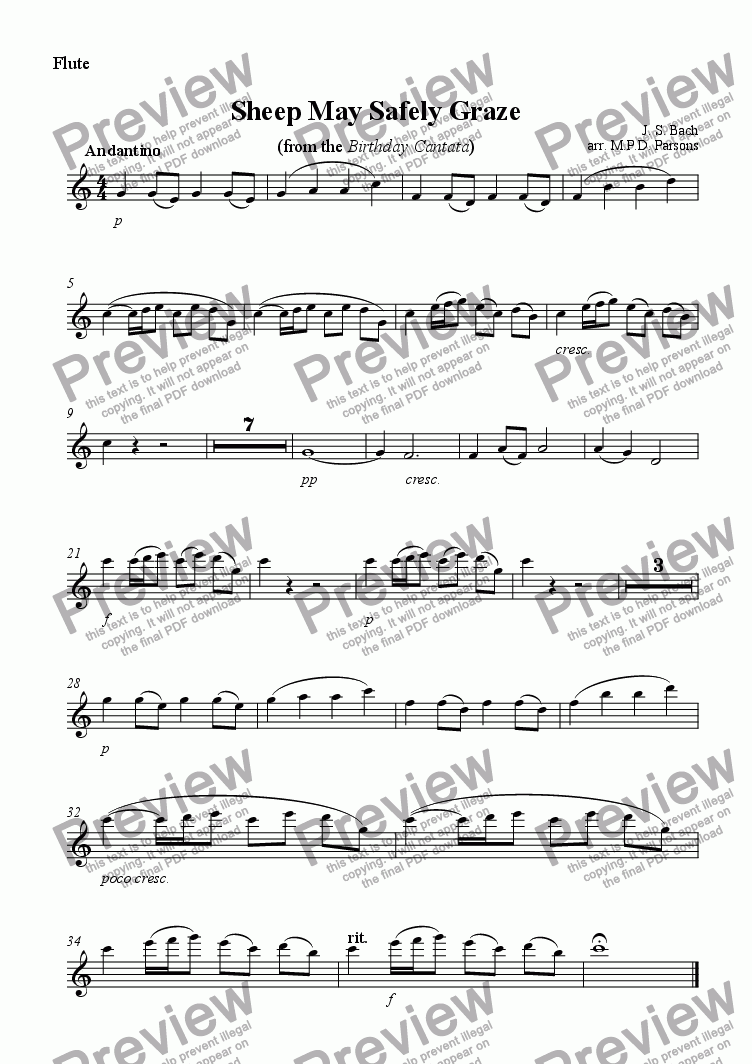 page one of the Flute part from Sheep may safely graze