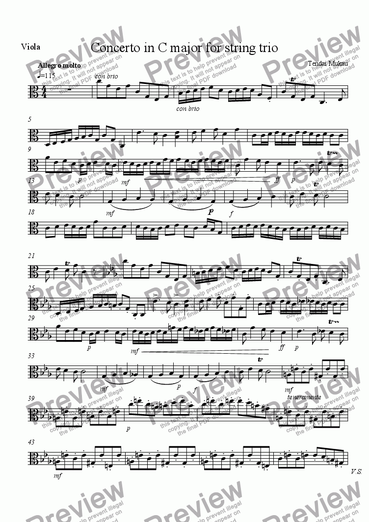 page one of the Viola part from Concerto in C Major for String Trio