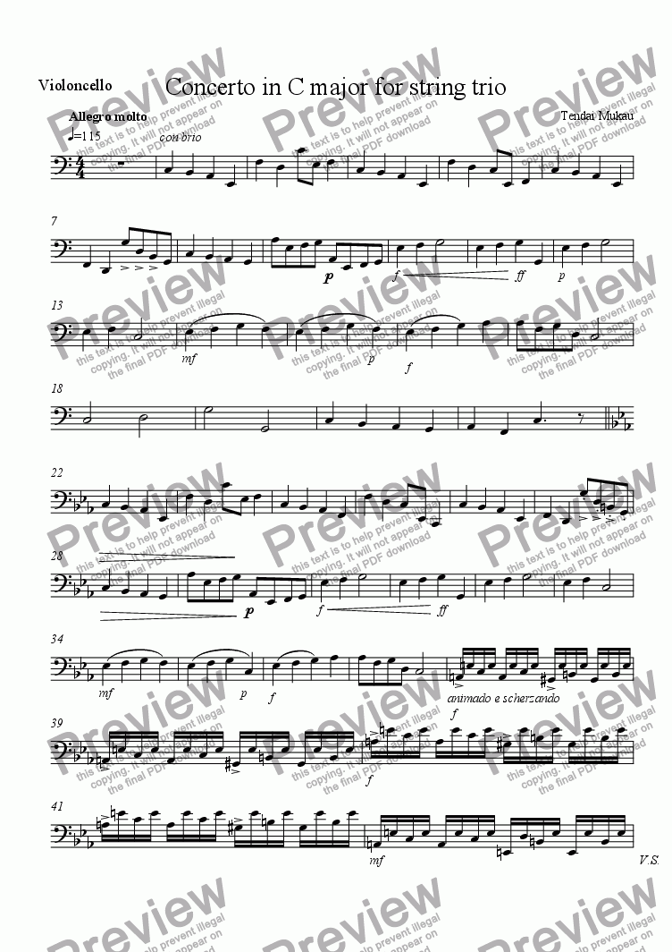 page one of the Violoncello part from Concerto in C Major for String Trio