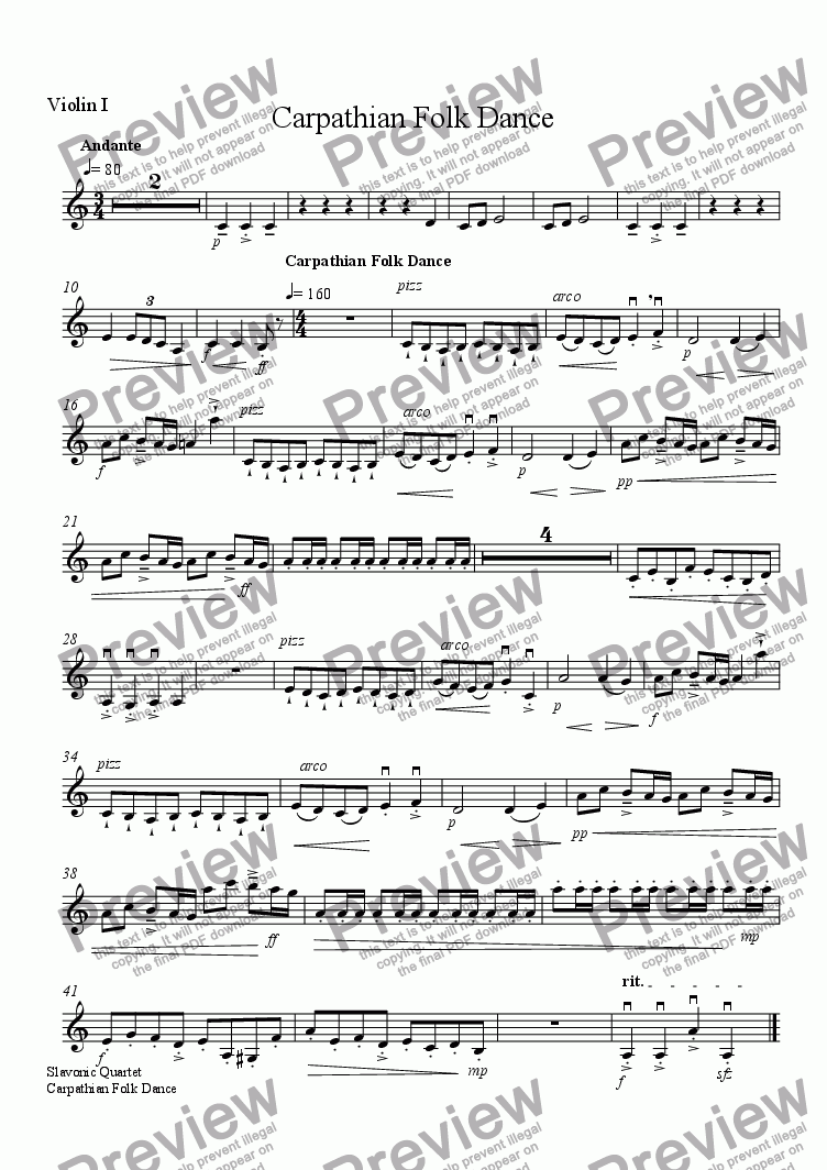 page one of the Violin I part from Carathian Folk Dance
