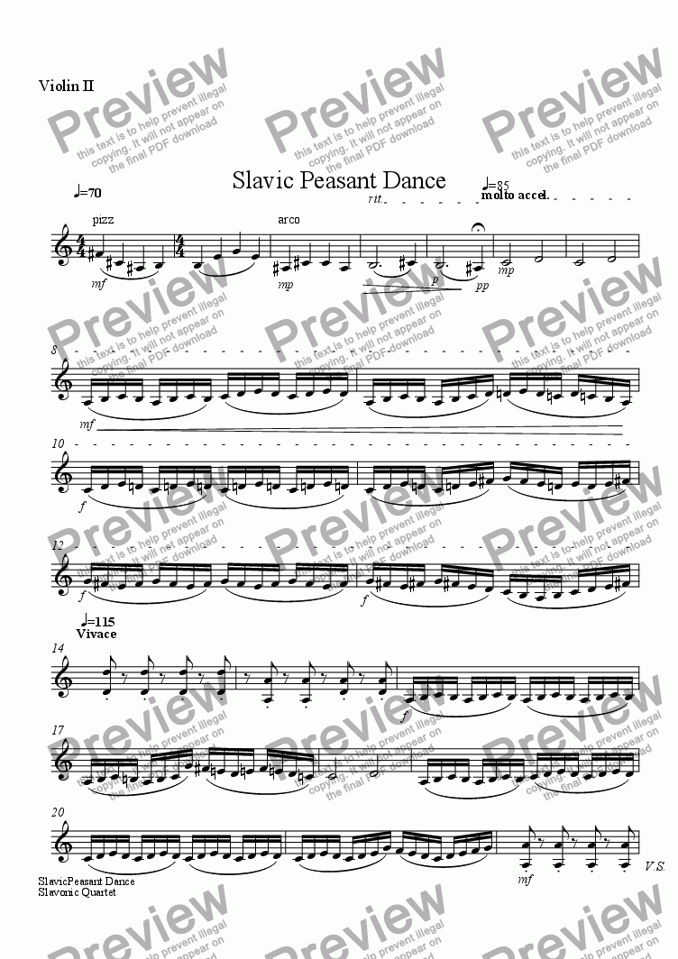 page one of the Violin II part from Slavic Peasant Dance