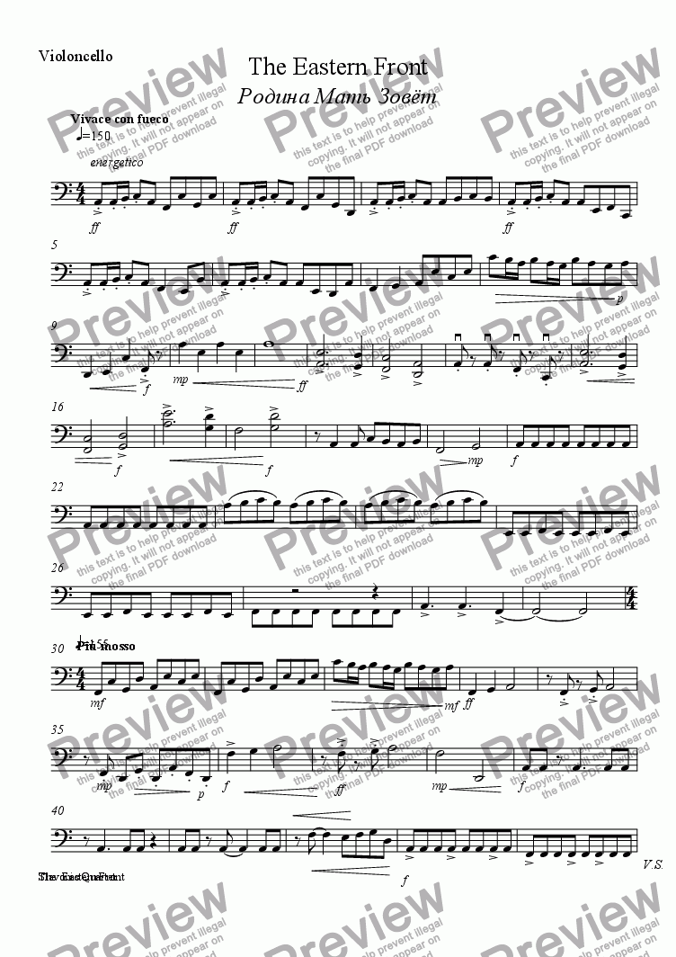page one of the Violoncello part from The Eastern Front