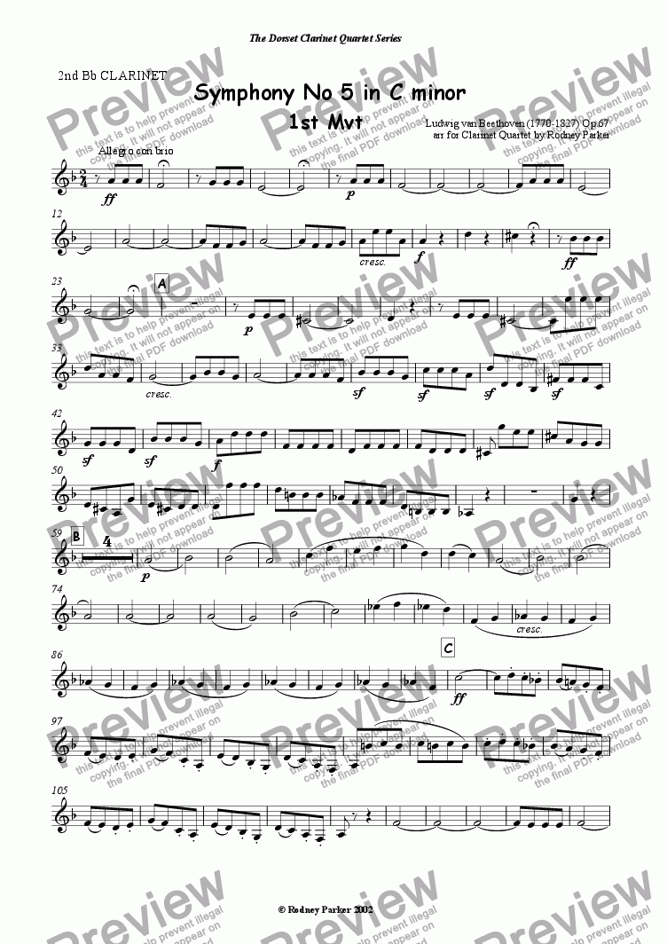 page one of the 2nd Bb Clarinet part from Beethoven's 5th Symphony 1st Mvt arr for Clarinet  Quartet by Rodney Parker