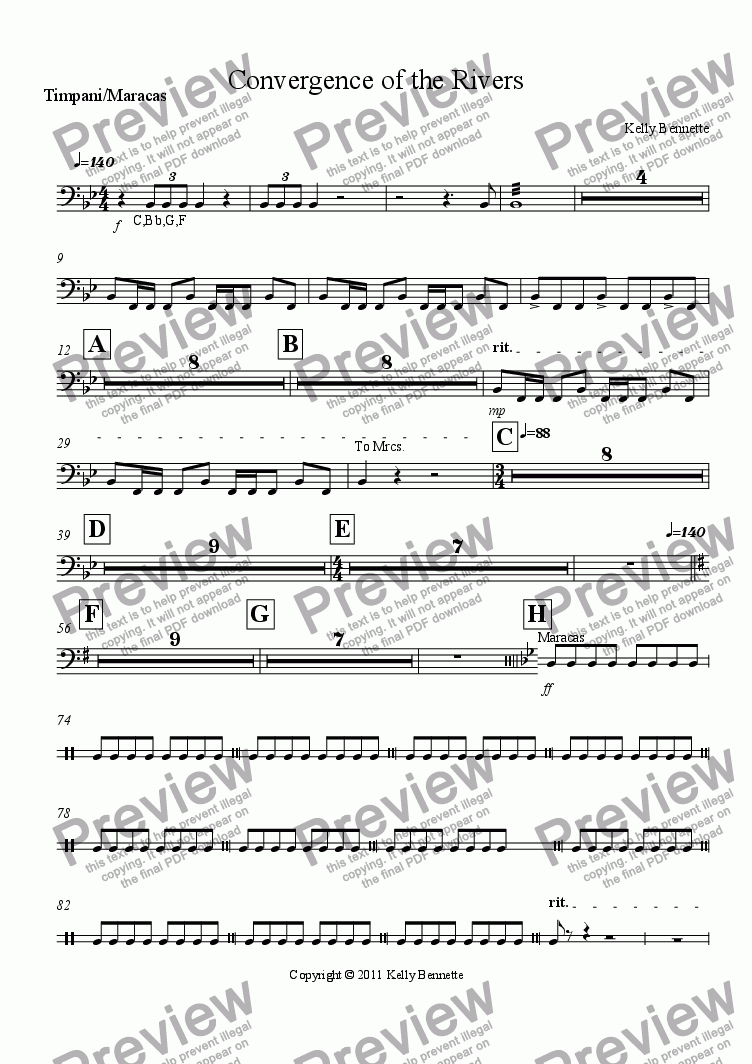 page one of the Timpani/Maracas part from Convergence of the Rivers