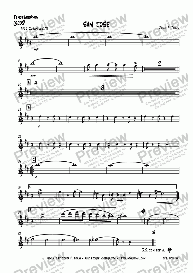 page one of the Tenorsaxophon (GCO5) part from San Jose (GCO5/Score & Parts)
