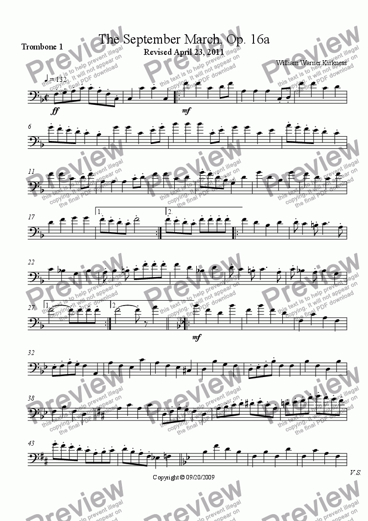 page one of the Trombone 1 part from The September March, Op. 16a