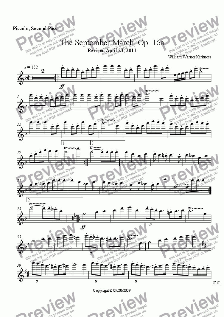 page one of the Piccolo, Second Pass part from The September March, Op. 16a