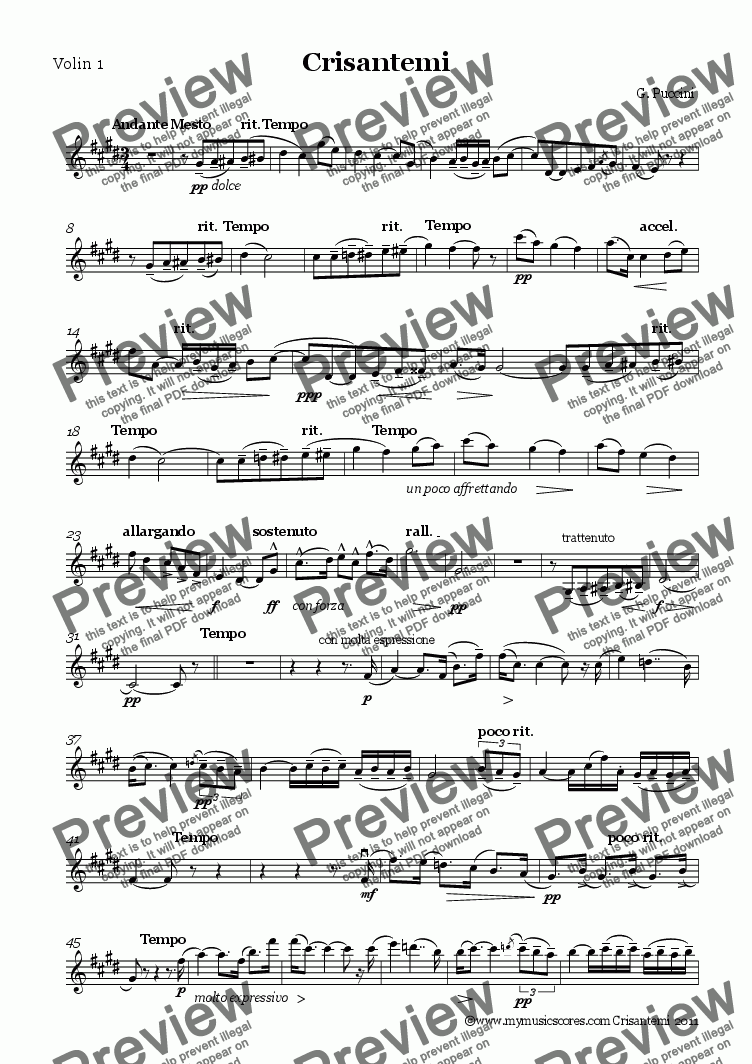 page one of the Volin 1 part from Puccini Crisantemi